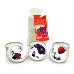 Three Packs Threesome (Three Edible 2 oz candles -- grape, cherry, strawberry)