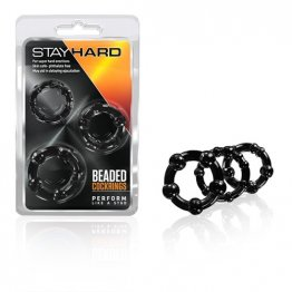 Stay Hard - Beaded Cock Rings - black