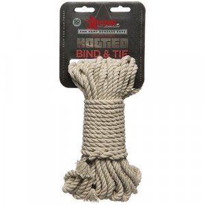 Kink - Hogtied - Bind & Tie - 6mm Hemp Bondage Rope -  50 Feet Natural