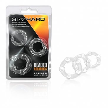 Stay Hard - Beaded Cock Rings - Clear